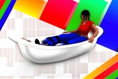 3d women in bath tub illustration Stock Photography