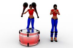 3d women beating drums Royalty Free Stock Images