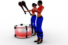 3d women beating drums Stock Images