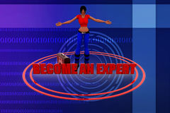 3d women become an expert illustration Royalty Free Stock Photography