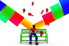 3d women bench question mark illustration Royalty Free Stock Photography