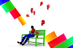 3d women bench question mark illustration Royalty Free Stock Photos