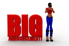 3d women big announcement Royalty Free Stock Images