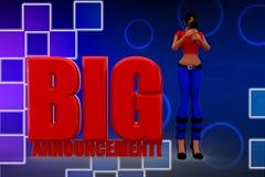 3d women big announcement illustration Stock Image