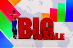 3d Women big percentage sale illustration Royalty Free Stock Photography