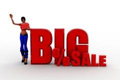 3d Women big percentage sale illustration Stock Images