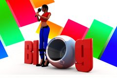 3d women blog illustration Royalty Free Stock Images