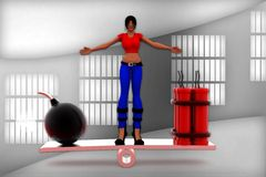 3d women bomb and rdx on see saw illustration Stock Photo