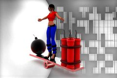 3d women bomb and rdx on see saw illustration Royalty Free Stock Photo