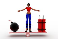 3d women bomb and rdx on see saw Royalty Free Stock Photography
