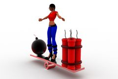 3d women bomb and rdx on see saw Royalty Free Stock Image