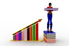 3d Women Book And Graph Royalty Free Stock Photos