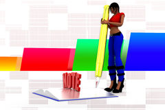 3d women book note illustration Royalty Free Stock Image