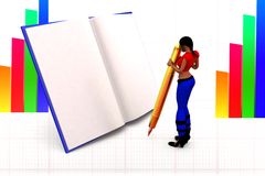 3d women book writing illustration Stock Images
