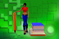 3d Women on  Books And Holding Pen Illustration Royalty Free Stock Photography