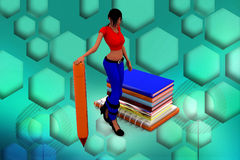 3d Women on  Books And Holding Pen Illustration Royalty Free Stock Photo
