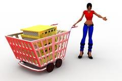 3d women Books inside cart Stock Image
