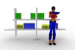 3d women books in shelf Royalty Free Stock Photo