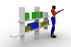 3d women books in shelf Royalty Free Stock Image