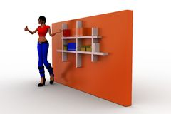 3d women books in shelf Royalty Free Stock Photography