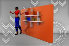 3d women books in shelf illustration Stock Images