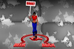 3d Women Boost meter illustration Royalty Free Stock Photography