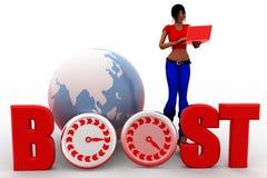 3d women boosting web traffic Stock Image