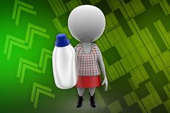 3d women with bottle illustration Stock Photo