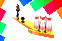 3d Women  bowling ball into  skittles illustration Royalty Free Stock Image