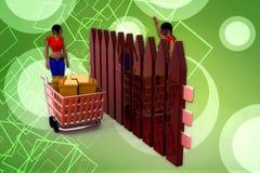 3d women box cart illustration Royalty Free Stock Photography