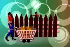 3d women box cart illustration Stock Image