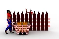 3d women box cart illustration Royalty Free Stock Photos