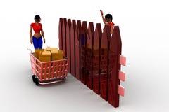3d women box cart illustration Royalty Free Stock Photo