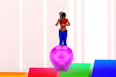 3d Women breaking Pink piggy bank illustration Stock Images