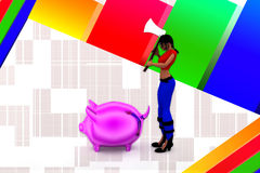 3d Women breaking Pink piggy bank illustration Stock Photos