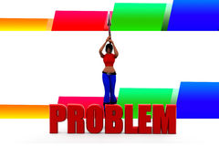 3d Women Breaking Problems Illustration Royalty Free Stock Photo