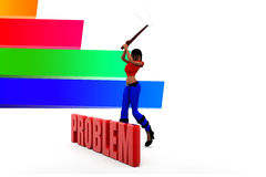 3d Women Breaking Problems Illustration Royalty Free Stock Photos