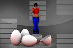 3d Women Broken easter-egg illustration Stock Photos