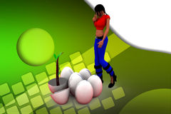 3d Women Broken egg with plant illustration Royalty Free Stock Image