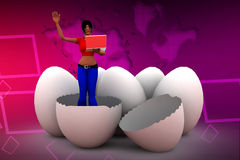 3d women browsing laptop inside breaked eggs illustration Stock Photo