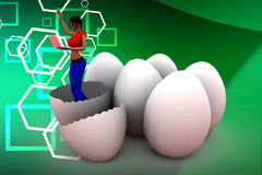 3d women browsing laptop inside breaked eggs illustration Royalty Free Stock Image