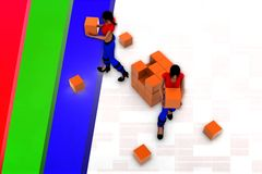 3d  women bulk cargo concept Stock Images
