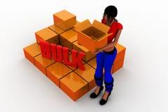 3d  women bulk cargo concept Royalty Free Stock Photography