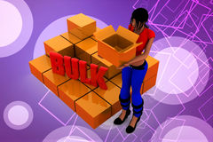 3d  women bulk cargo illustration Royalty Free Stock Photography