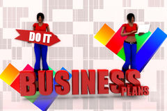 3d Women Business Plans Illustration Royalty Free Stock Images