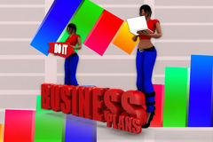 3d Women Business Plans Illustration Stock Photos
