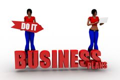 3d Women Business Plans Royalty Free Stock Photography