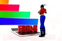 3d women calculator error illustration Royalty Free Stock Image