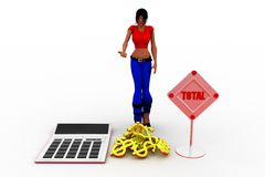 3d women Calculator Gold counting Illustration Royalty Free Stock Images