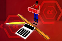 3d women Calculator Notes Illustration Royalty Free Stock Photography